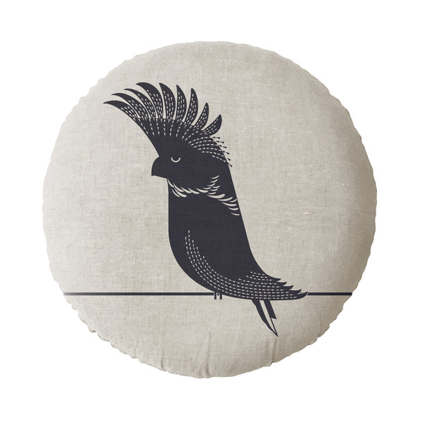 Black Cockatoo Round Cushion