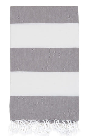 bold stripe hamam towel grey