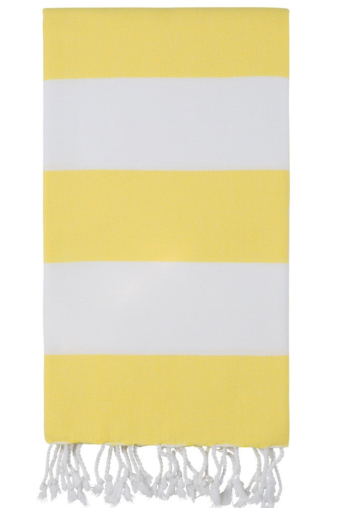 bold stripe hamam towel lemon