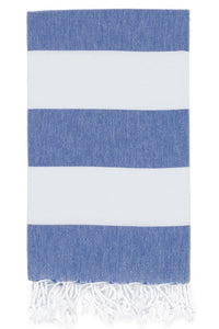 bold stripe hamam towel royal blue