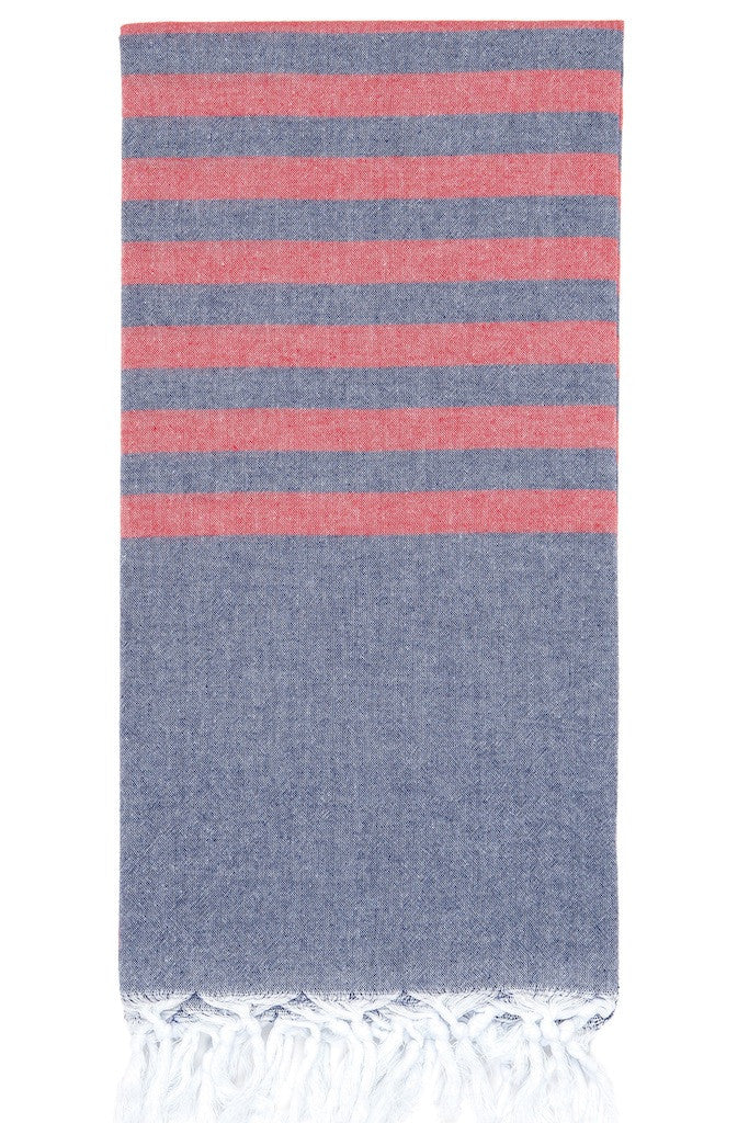 clara hammam towel navy red