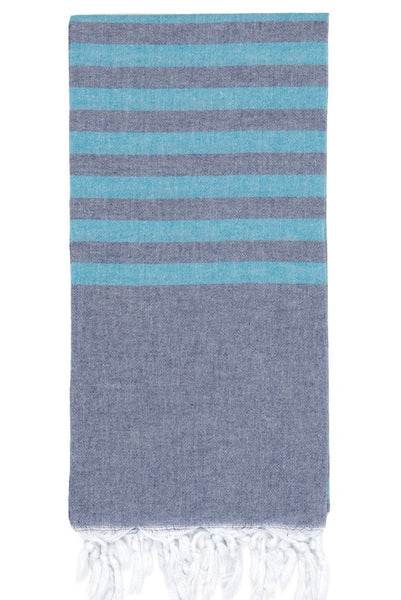 clara pestemal navy with turquoise stripe