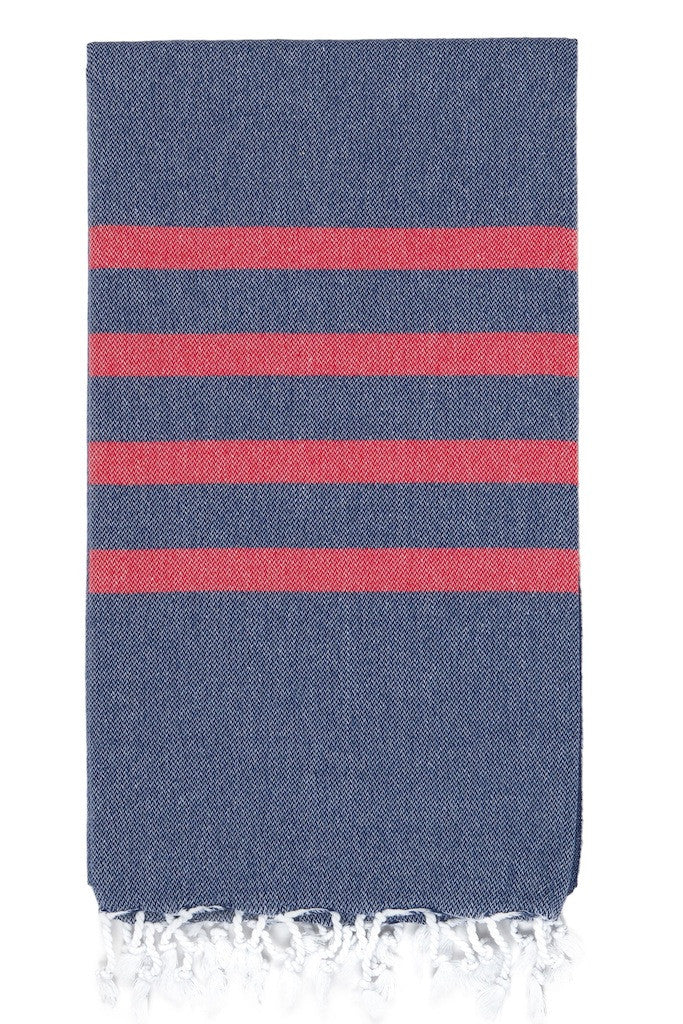 felix hamam towel navy red