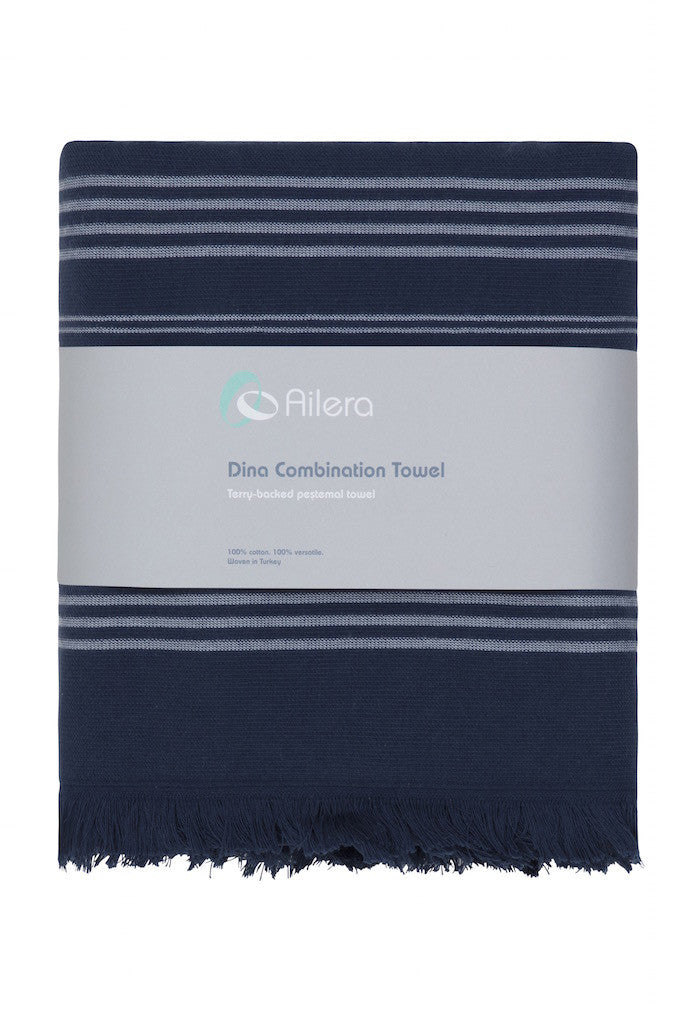 dina combi towel navy with white stripe