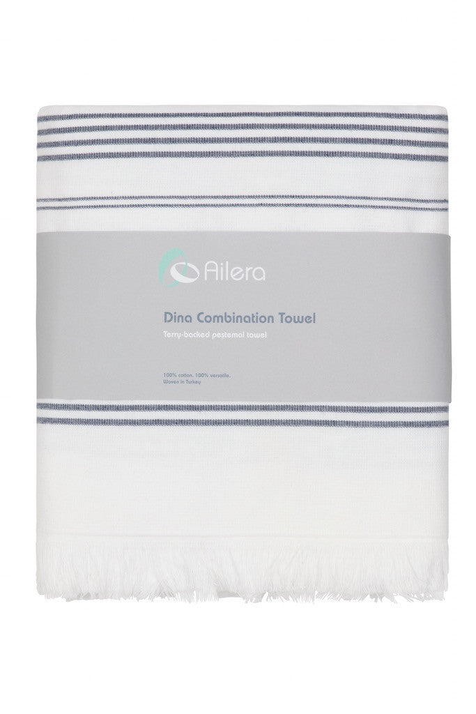 dina combi towel white with navy stripe