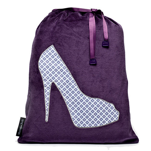 She-She Shoe Bag - Purple/Diamond Print