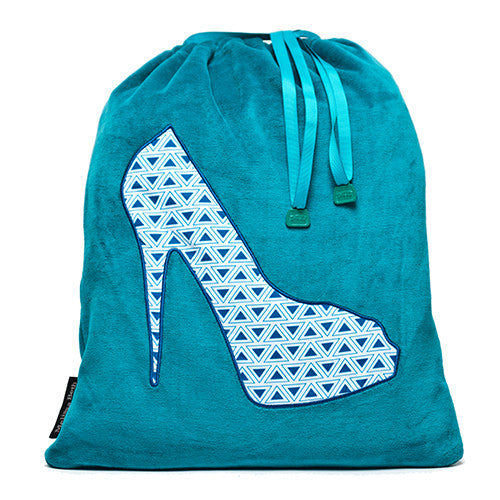 She-She Shoe Bag - Teal/Triangle Print