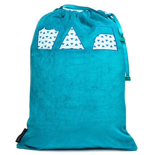 Wash, Dry and Repeat Laundry Bag - Teal/Triangle