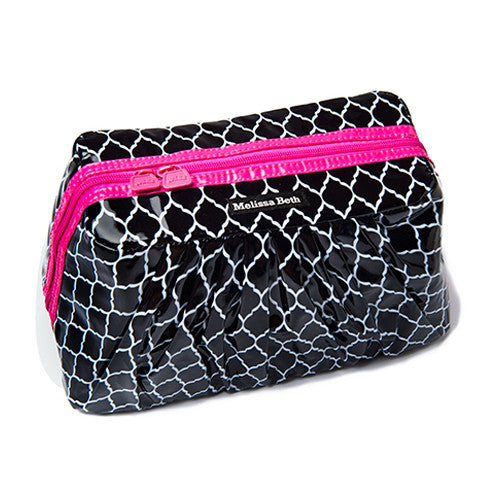 Pretty Pleats Cosmetic Case - Trellis/Hot Pink