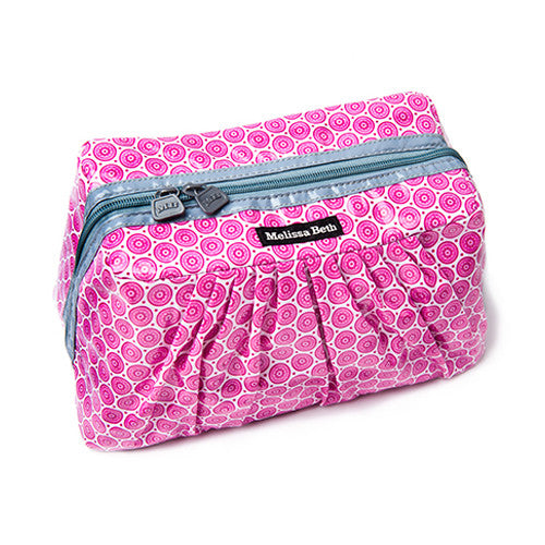 Pretty Pleats Cosmetic Case - Circle Floral/Gray