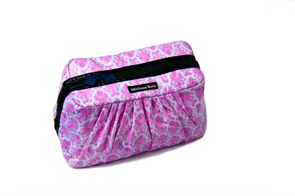 Pretty Pleats Cosmetic Case - Damask/Navy