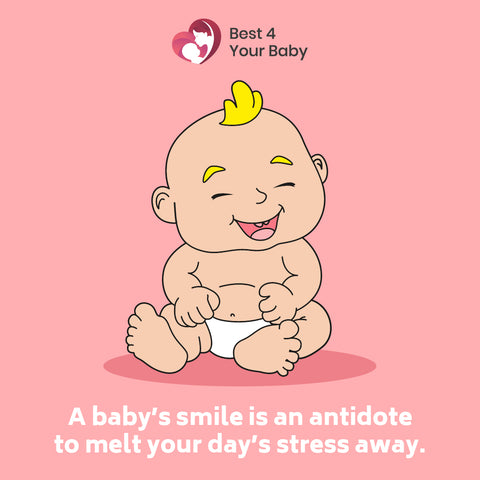 A baby's smile is an antidote to melt your day's stress away