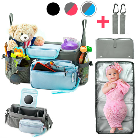 10-in-1 Universal Baby Stroller Organizer Bag with Cup Holders Durable Waterproof Material Compact Go Stroller Accessories Organizer Extra Storage Free Detachable Changing Mat & 2 Hooks (Gray/Blue)