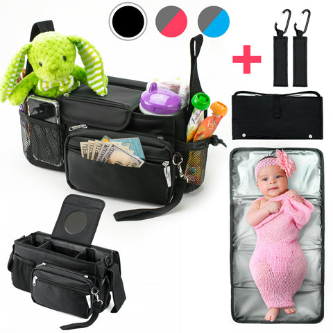 10-in-1 Universal Baby Stroller Organizer Bag with Cup Holders Durable Waterproof Material Compact Go Stroller Accessories Organizer Extra Storage Free Detachable Changing Mat & 2 Hooks (Black)