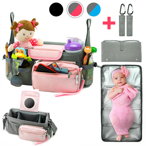 10-in-1 Universal Baby Stroller Organizer Bag with Cup Holders Durable Waterproof Material Compact Go Stroller Accessories Organizer Extra Storage Free Detachable Changing Mat & 2 Hooks (Gray/Pink)