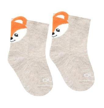 Baby Boy Cotton 3D Socks with Fox in Milky