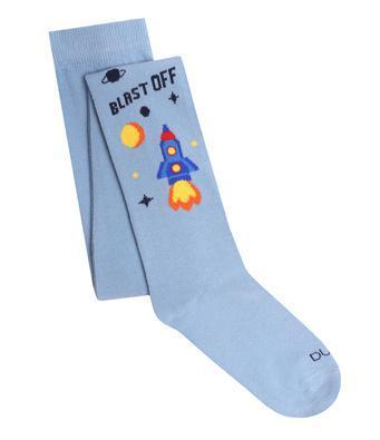 Baby Boy Cotton Tights with Rocket in Blue