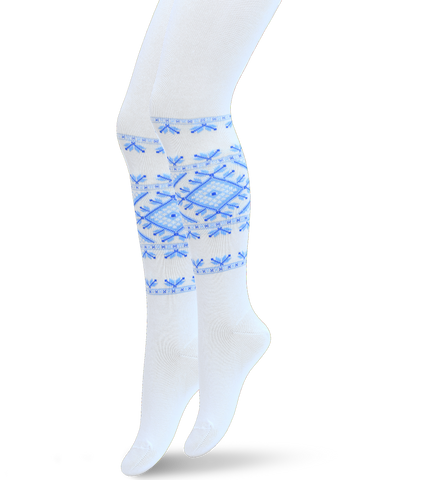 Baby Girl Cotton Tights with Folk Design in Blue White