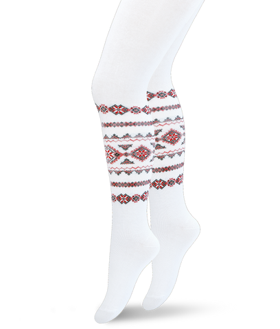 Baby Girl Cotton Tights with Folk Design in Red White