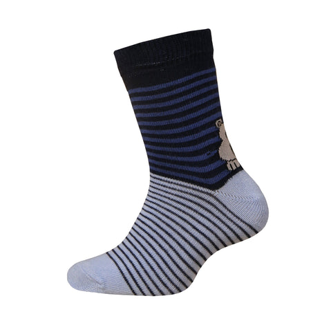 Baby Boy Striped Cotton Socks with Bear in Dark Blue