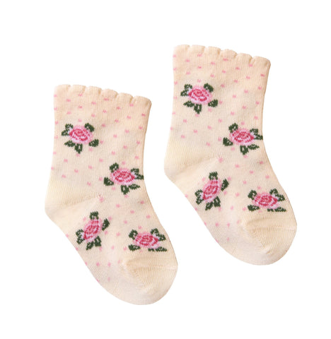 Baby Girl Cotton Socks with Flowers in Milky