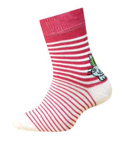 Baby Girl Striped Cotton Socks with Cat in Raspberry