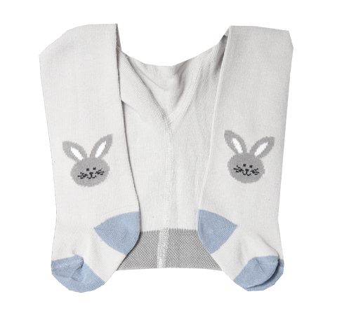 Baby Boy Cotton Tights with Bunny in Light Gray