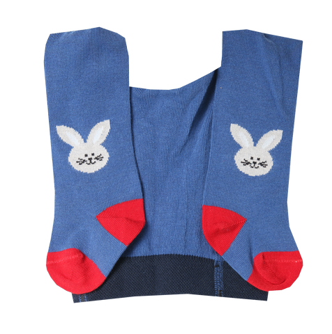 Baby Boy Cotton Tights with Bunny in Jeans