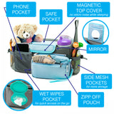 10-in-1 Universal Baby Stroller Organizer Bag with Cup Holders with Detachable Changing Mat & 2 Hooks (Gray/Blue)
