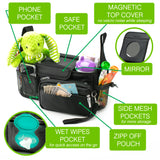 10-in-1 Universal Baby Stroller Organizer Bag with Cup Holders with Detachable Changing Mat & 2 Hooks (Black)