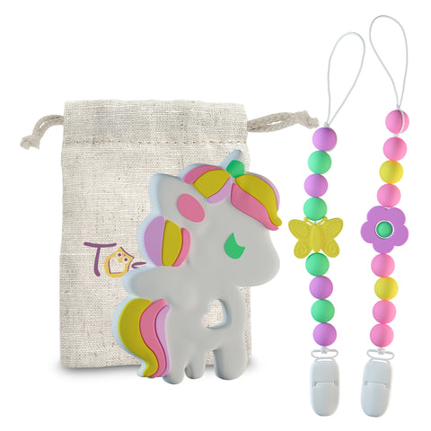 3 in 1 Set Pacifier Clips & Baby Teething Toy Unicorn Teether Ring with Colorful Chew Beads