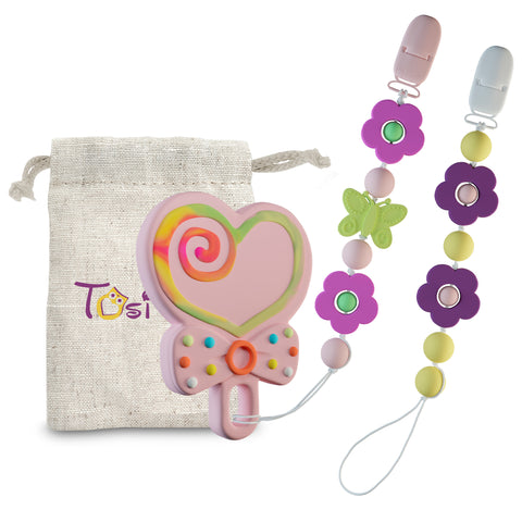 3 in 1 Set Pacifier Clips & Baby Teething Toy Heart Teether Ring with Colorful Chew Beads