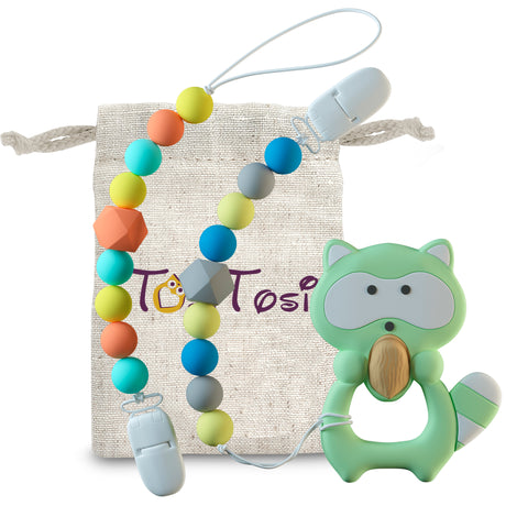 3 in 1 Set Pacifier Clips & Baby Teething Toy Raccoon Teether Ring with Colorful Chew Beads