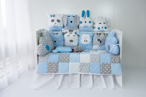 Funny Animals Handmade 4-Piece Bedding Set in Blue