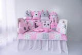 Funny Animals Handmade 4-Piece Bedding Set in Pink