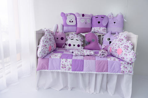 Funny Animals Handmade 4-Piece Bedding Set in Purple