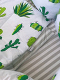 Cotton Handmade 4-Piece Bedding Set in White/Green