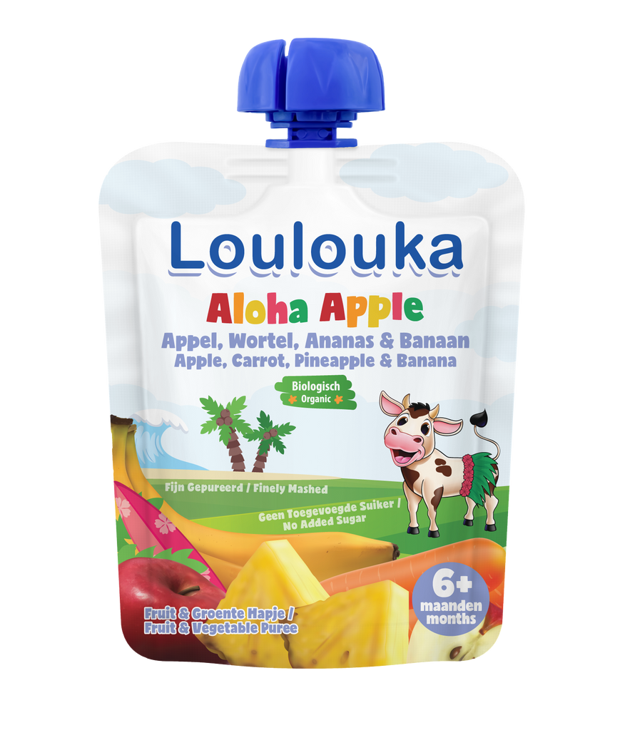 Loulouka Organic Fruit Baby Puree ALOHA APPLE Apple Carrot Pineapple Banana (90g) from 6 months