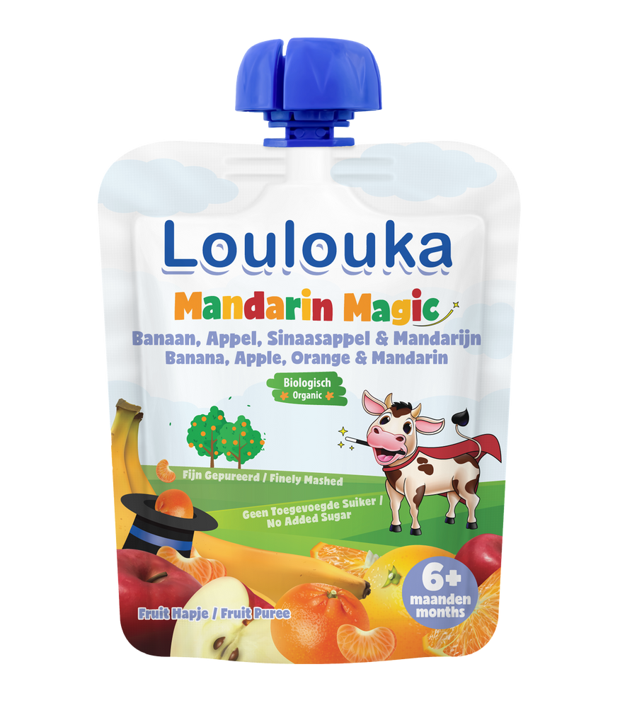 Loulouka Organic Fruit Baby Puree MANDARIN MAGIC Banana Apple Orange Mandarin (90g) from 6 months
