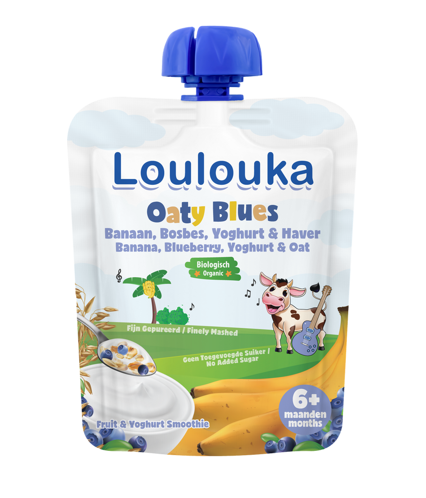 Loulouka Organic Fruit Baby Puree OATY BLUES Banana Blueberry Yoghurt & Oat (90g) from 6 months