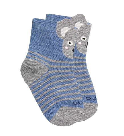 Baby Boy Cotton 3D Socks with Coala in Jeans