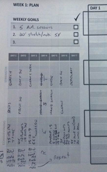 Weekly Plan Page from LiftBook for Crossfit Training Journal