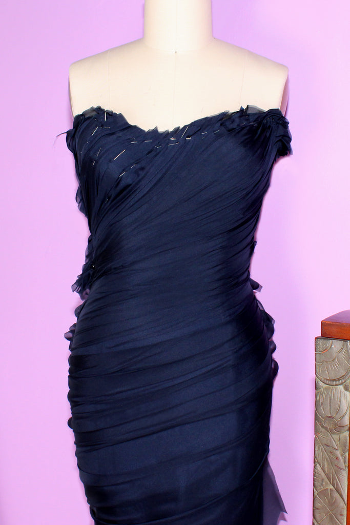 Navy haute couture hand draped gown by German Valdivia