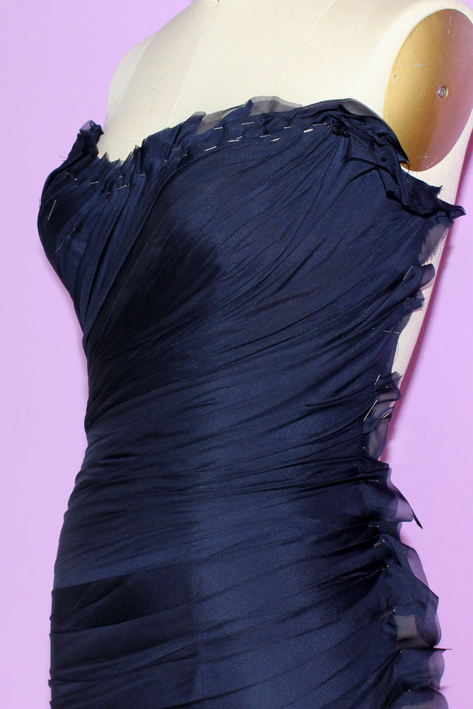 Navy haute couture cocktail dress hand draping by German Valdivia
