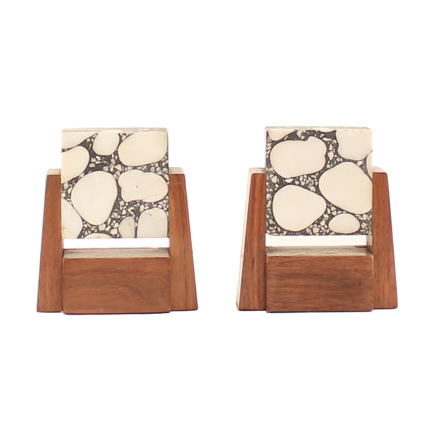 Magnificent Art Deco Stone Marble and Walnut Bookends