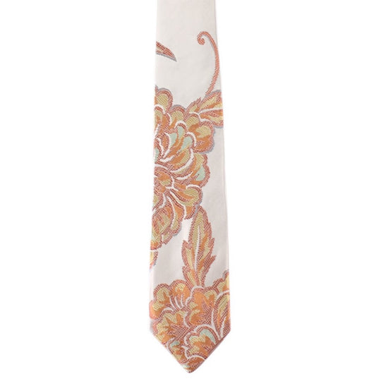 beige orange floral tie by german valdivia