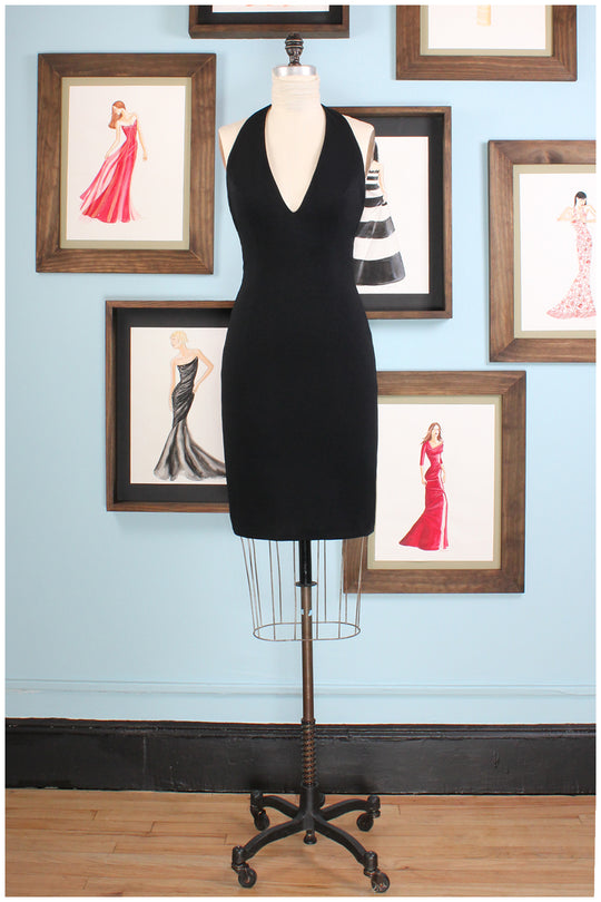 cocktail dress in black halter by german valdivia