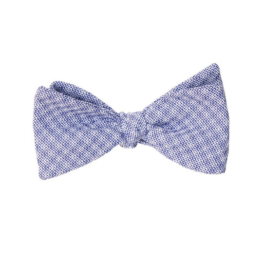 Dusty Blue Plaid Cotton Self Tie Bow Tie by German Valdivia