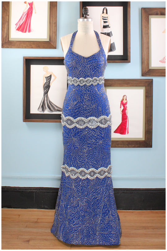 Blue Hand Beaded Gown