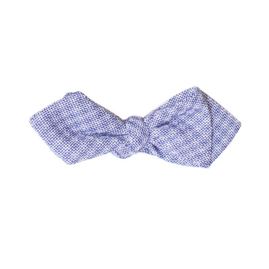 Blue Plaid Diamond Tip Bow Tie